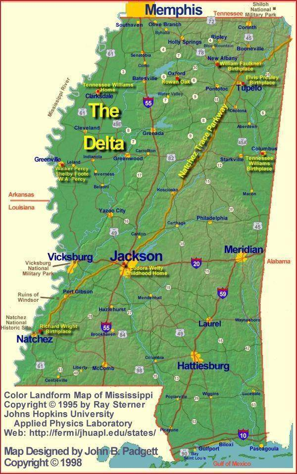 Map of Mississippi's Literary Landmarks