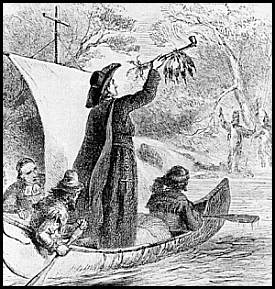 Father Jacques Marquette and Louis Joliet exploring the Mississippi River in 1673